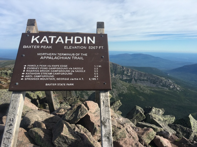 Katahdin summit sign